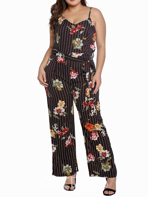 Ericdress Plus Size Floral Strap Casual Slim Straight Jumpsuit