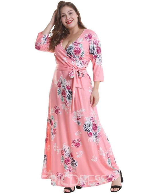 Ericdress Plus Size Print Ankle-Length Nine Points Sleeve Floral Sexy Dress