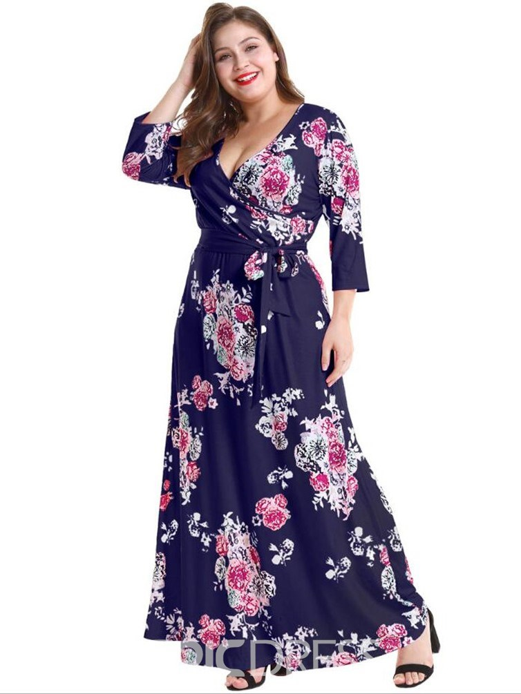 ericdress taille plus impression cheville longueur neuf manches manches robe sexy florale