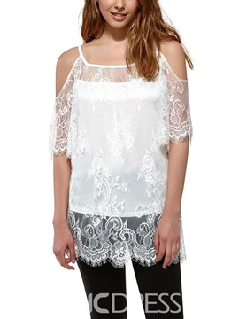 Ericdress Lace Off-Shoulder Strap Blouse
