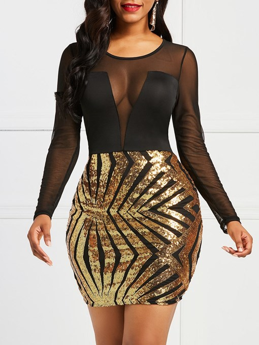 Ericdress Sequins Bodycon Long Sleeves Mesh Women's Dress