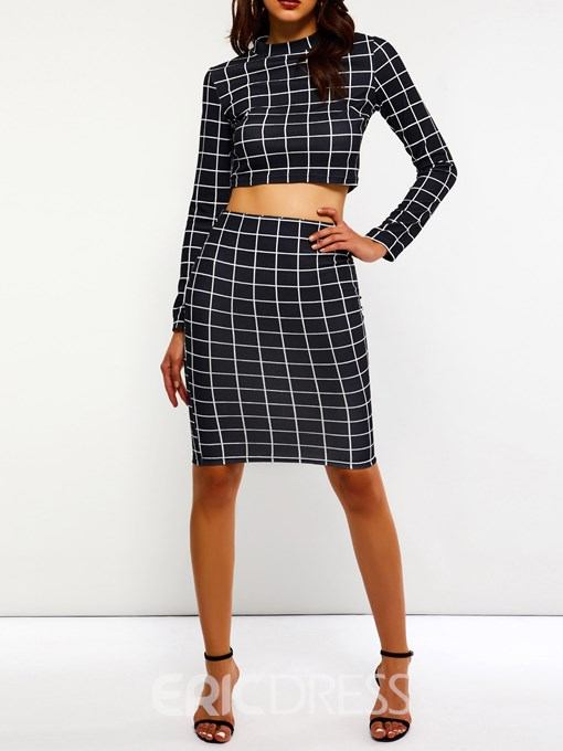 Ericdress Print Sexy Plaid Pullover Bodycon T-Shirt And Skirt Two Piece Sets
