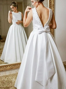 Ericdress Straps A-Line Beading Bowknot Wedding Dress