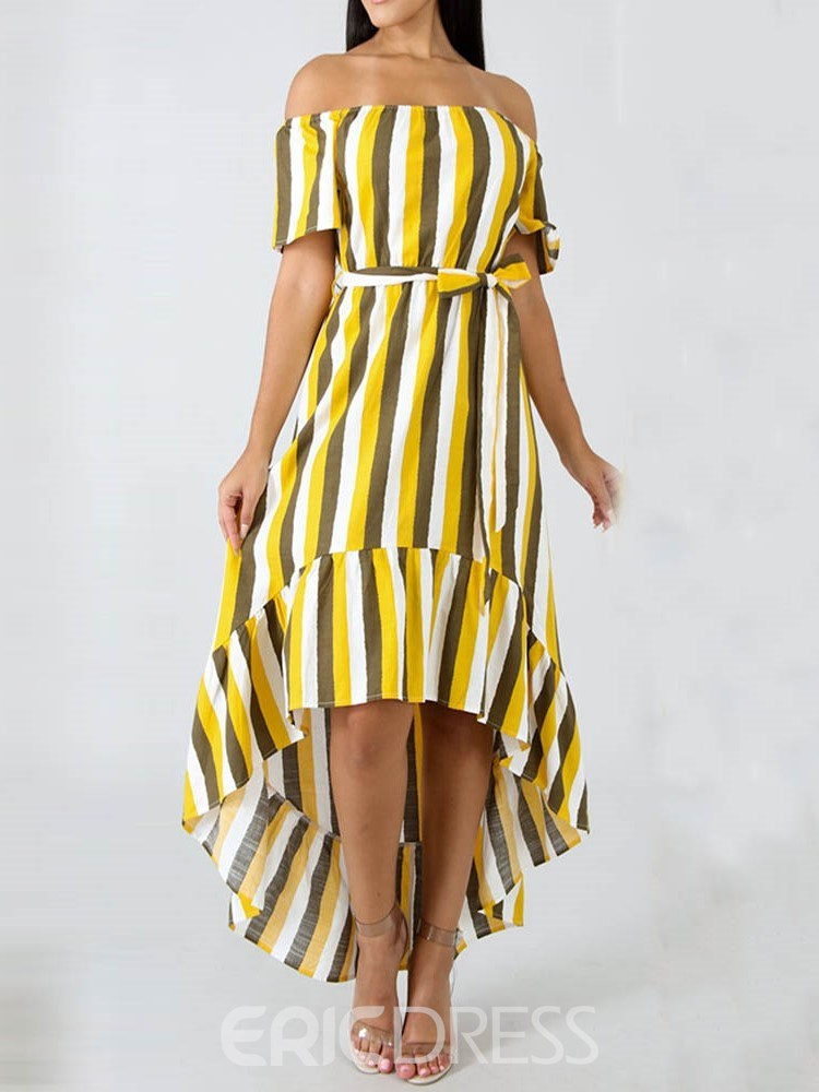 Ericdress Striped Short Sleeve Off Shoulder Ankle-Length Casual Swallowtail Dress