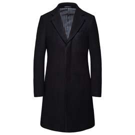 Ericdress Mid-Length Notched Lapel Button Slim Winter Coat