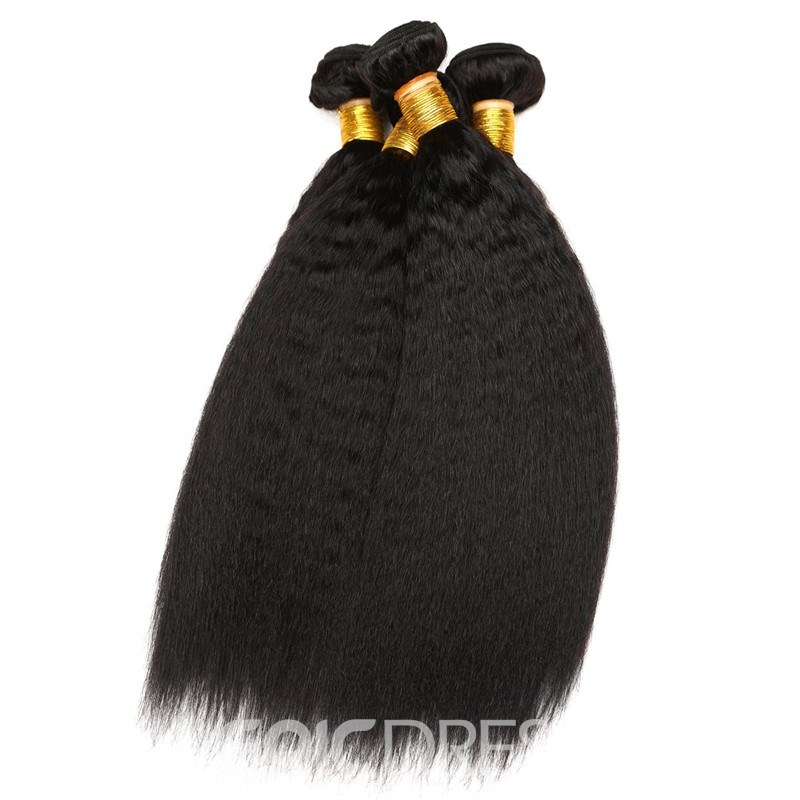 Ericdress Brazilian Virgin Kinky Yaki Straight Hair Bundles Weft Human Hair Extension 300g