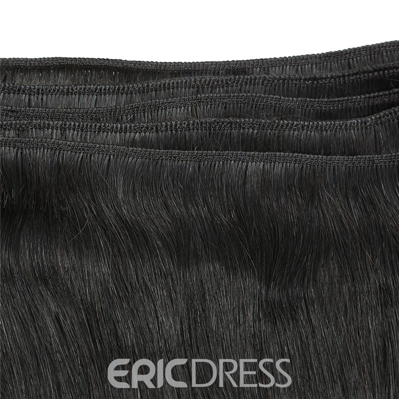 Ericdress Unprocessed Virgin Brazilian Straight Human Hair Bundle Deals Lace Closure Hair