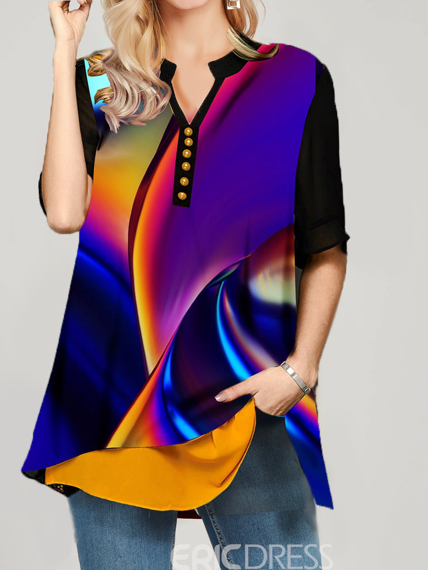 Ericdress Color Block Button Stand Collar Half Sleeve Mid-Length Blouse
