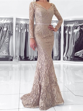 Ericdress Long Sleeve V Neck Lace Mermaid Evening Dress