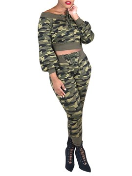Ericdress Camouflage Pullover Round Neck Two Piece Sets