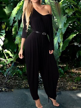 Ericdress One Shoulder Casual Full Length Plain Loose Jumpsuit