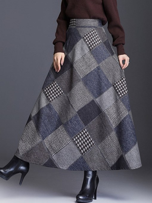 Ericdress Print A-Line Ankle-Length Vintage Skirt