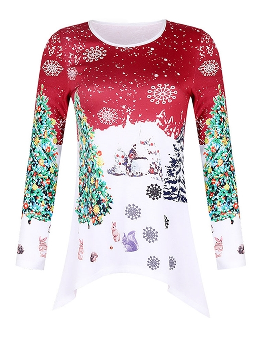 Ericdress Long Sleeve Round Neck Mid-Length Christmas Women's Casual T-Shirt
