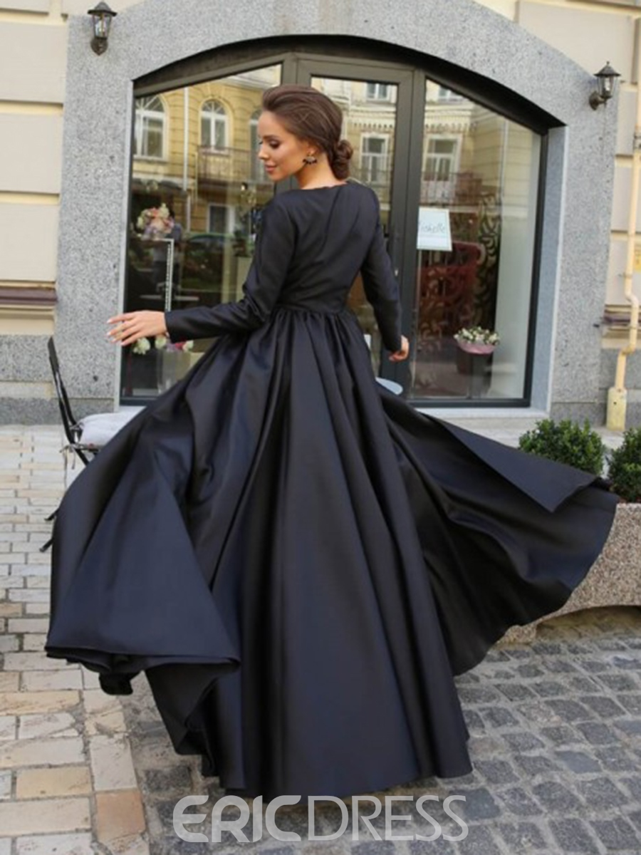 Ericdress Lace Long Sleeves Black Evening Dress 2019