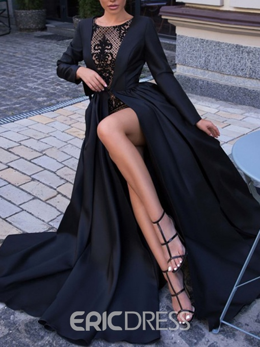 Ericdress Lace Long Sleeves Black Evening Dress