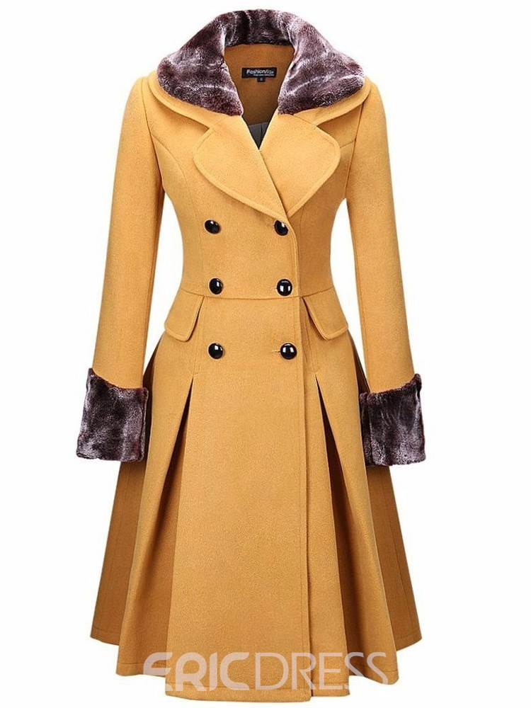 Ericdress Double-Breasted Patchwork A Line Mid-Length Notched Lapel Overcoat