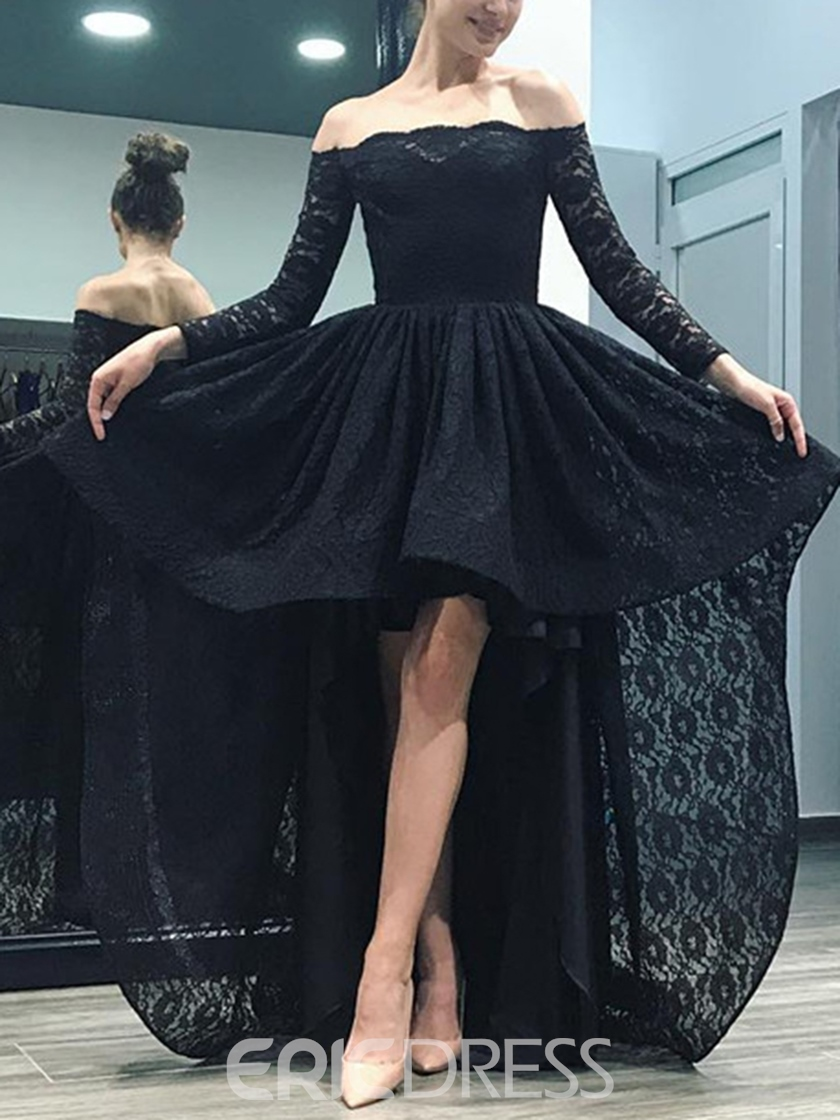 Ericdress Asymmetry Long Sleeves Lace Prom Dress 2019