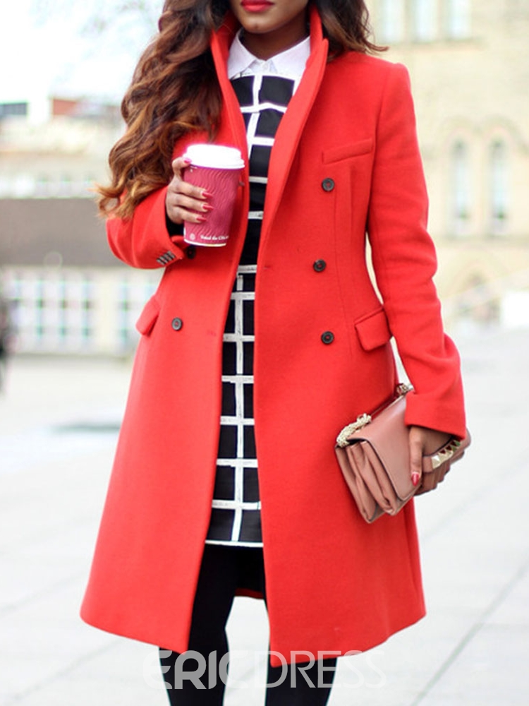 Ericdress Plus Size A Line Double-Breasted Notched Lapel Women's Overcoat