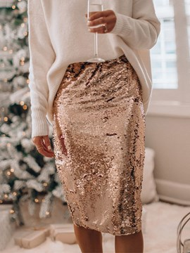 Ericdress Sequins Bodycon Mid-Calf Elegant High Waist Skirt