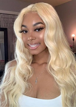 Ericdress African American Women's 613 Blonde Color Middle Part Body Wave 100% Human Hair Lace Front Cap Wigs 26Inch