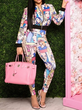 Ericdress Jacket Cartoon Zipper Zipper Pencil Pants Two Piece Sets