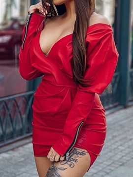 Ericdress V-Neck Split Long Sleeve High Waist Lantern Sleeve Dress