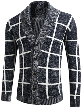 Ericdress Standard Lapel Plaid Men's Casual Fall Sweater