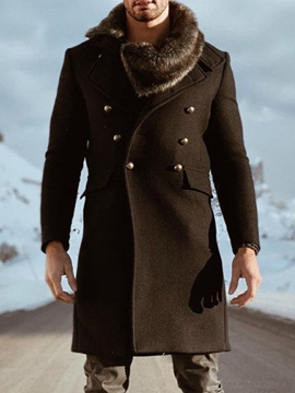 Ericdress Mid-Length Plain Winter Double-Breasted Men's Coat
