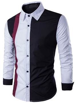 Ericdress Lapel Color Block Casual Fall Men's Slim Shirt