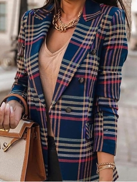 Ericdress Long Sleeve Double-Breasted Color Block Regular Women's Casual Blazer