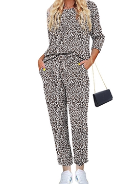 Ericdress Leopard Patchwork Casual Sleep Bottom Round Neck Pajama Suit