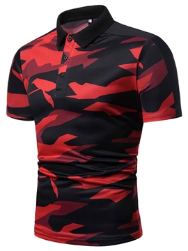 Ericdress European Camouflage Polo Neck Men's Polo Shirt
