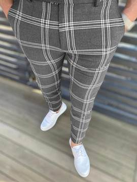 Ericdress Pencil Pants Plaid Zipper European Men's Casual Pants