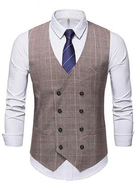 Ericdress V-Neck Button Plaid Double-Breasted Men's Waistcoat