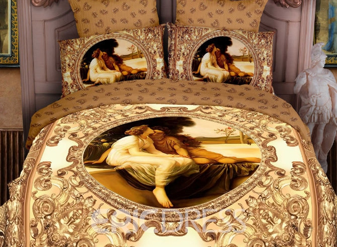 4-Piece Luxury Yellow Famous Painting Print Bedding 10555417