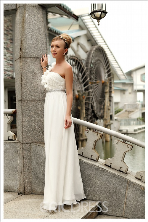 Fancy One Shouder Chiffon Sheath/Column Beading Prom Dress