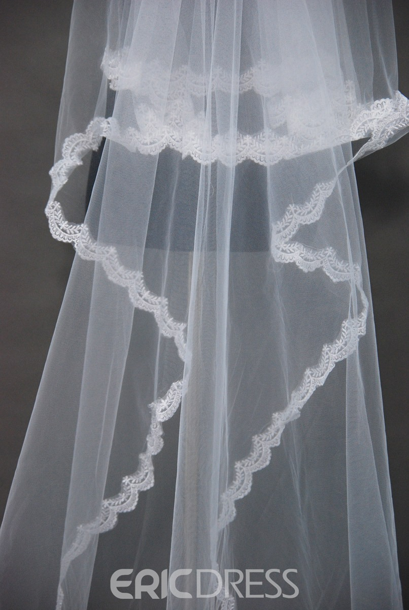 Attractive Floral Edge Wedding Bridal Veil HK35875