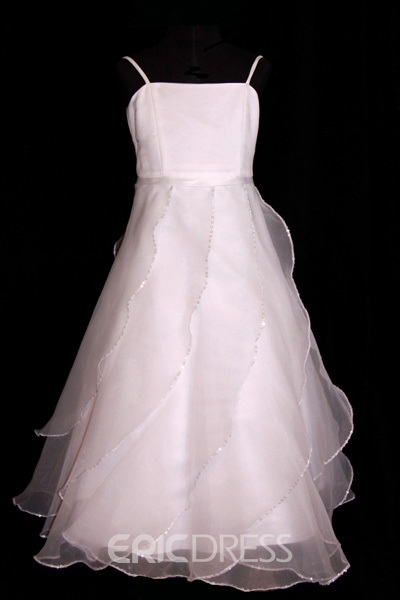A-line Floor-length Ruffling Flower Girl Dress
