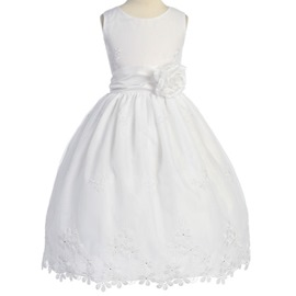 Pretty Ball Gown Ankle-length Round-Neck Appliques Flower Girl Dress