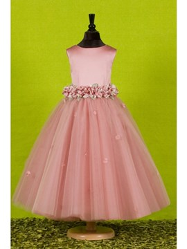 Attractive Ball Gown Ankle-length Flowers Embellishing Flower Girl Dress