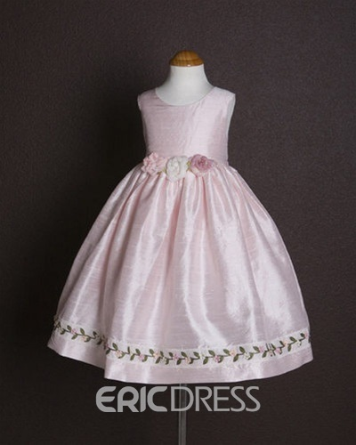 Concise Ball Gown Tea-length Scoop Embroidery Flower Girl Dress