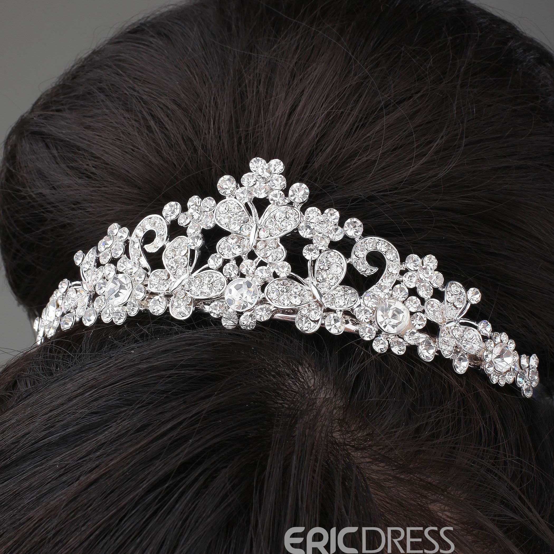 Cute Butterfly Shaped Alloy and Rhinestone Tiara & Headpiece