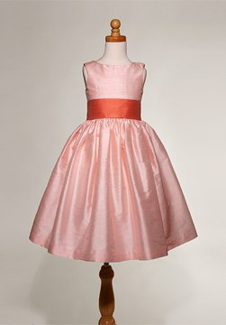 Beautiful Pink Jewel A-line Sash Flower Girl Dress