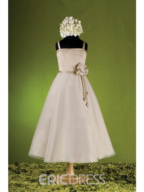 Pretty A-line Square Tea-length Flower Embellishing Flower Girl Dress