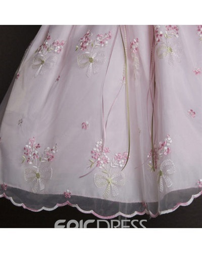 Cute Ball Gown Tea-length Round-Neck Embroidery Flower Girl Dress
