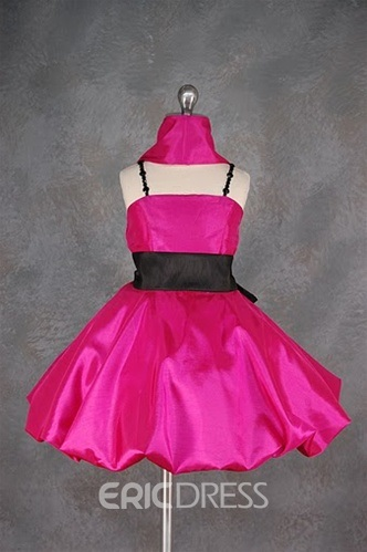 Charming Short/Mini-length Square Neckline Sash Flower Girl Dress