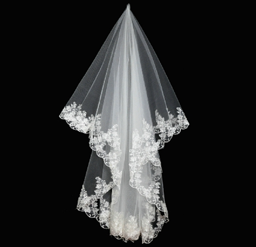 Ericdress High Quality Single Layer Floral Edge Wedding Bridal Veil