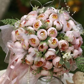 Light Pink Silk Cloth Bud Bridal Bouquet