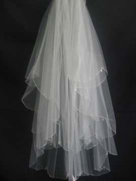 Pretty Elbow Wedding Bridal Veil with Beaded Edge