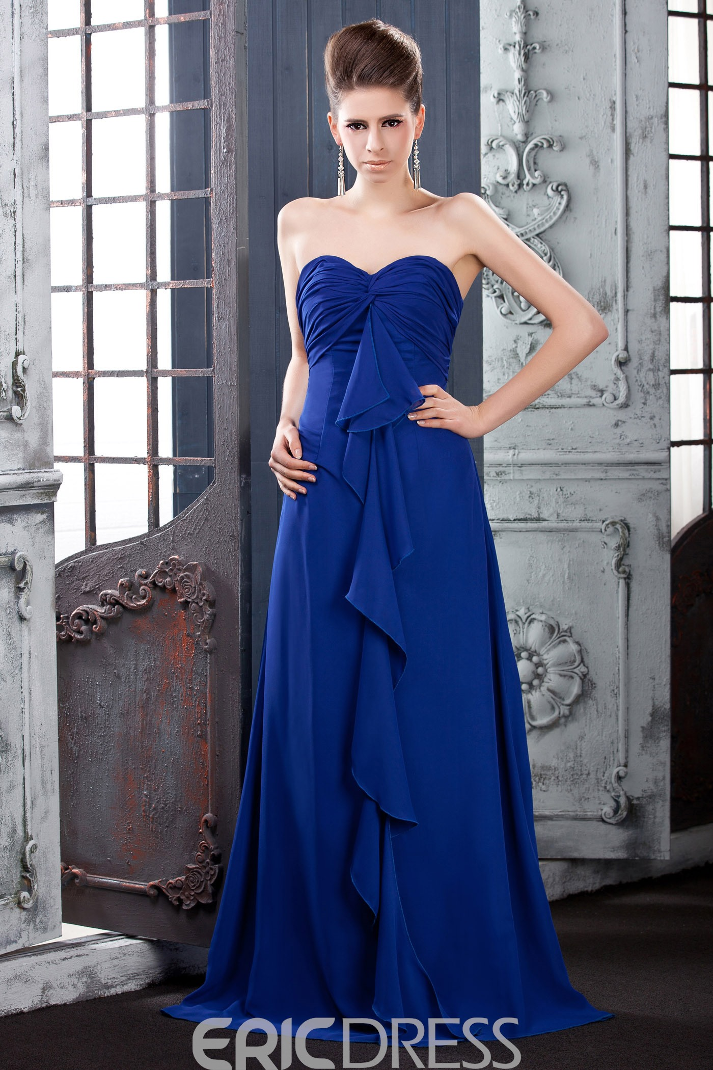 Draped A-Line Sweetheart Floor-Length Bridesmaid Dress